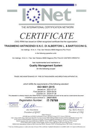Certificato IQNET Trasimeno Antincendi SNC preview