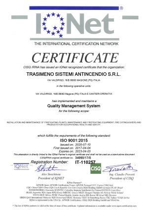 Certificato IQNET Trasimeno Sistemi Antincendio SRL preview