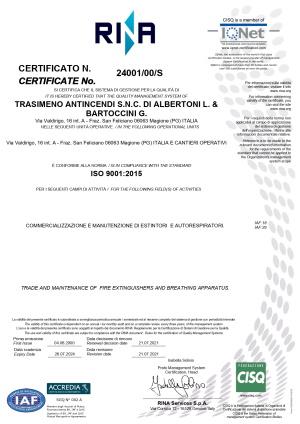 Certificato RINA Trasimeno Antincendi SNC preview